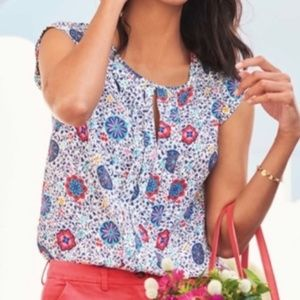 Boden Pewter Pleated Mosaic Floral Vine Blouse
